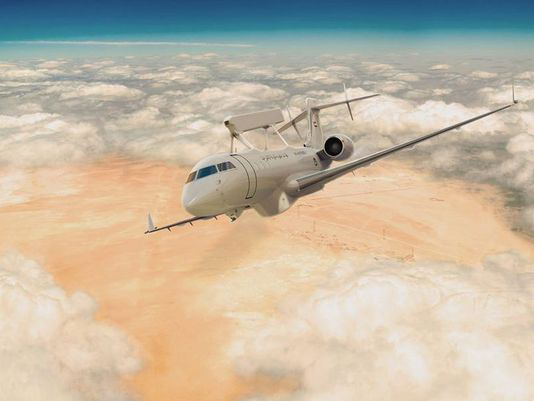 In addition to upgrading the Emirates' Air Force Saab 340 AEW aircraft Saab was also entrusted to supply two new surveillance aircraft, but based on the Global 6000. ©Saab