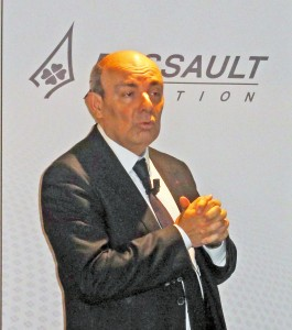 Éric Trappier, Chairman and Chief Executive Officer of Dassault Aviation, pictured during the latest press conference held at the company's headquarters in Saint Cloud on 10 March 2016. © J.-M. Guhl
