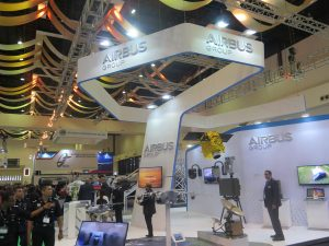 The Airbus stand at DSA. (Joseph Roukoz)
