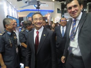 The Minister of Defence of Malaysia Datuk Seri Hishammudin Tun in the Thales booth. (Joseph Roukoz)