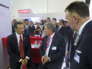 The Minister of Defence Datuk Seri Hishammudin Tun in discussion with the MBDA team in DSA. (Joseph Roukoz)