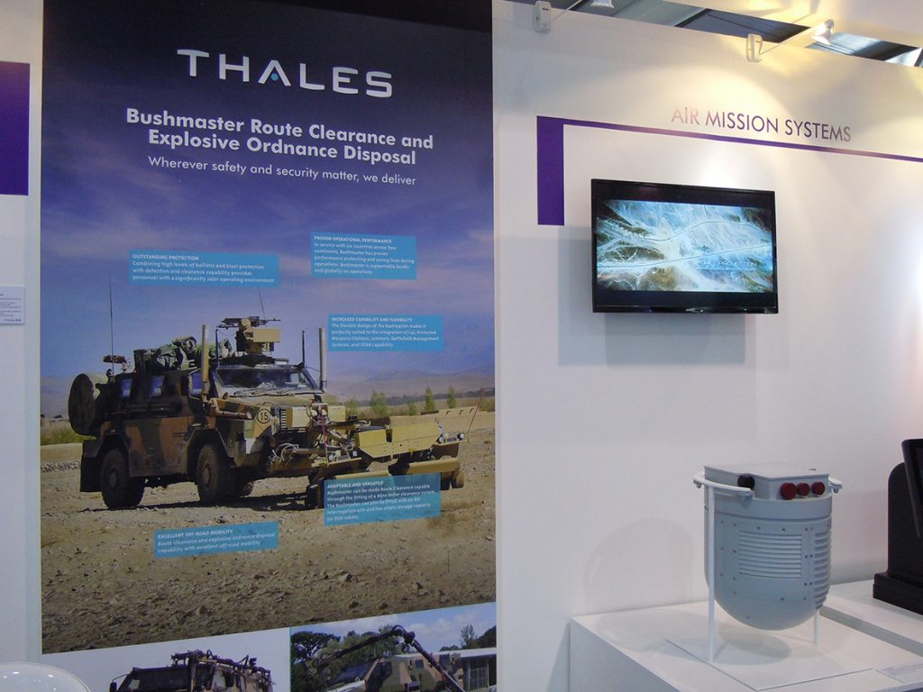 Thales promoted armoured vehicles, UAV radars and training systems.