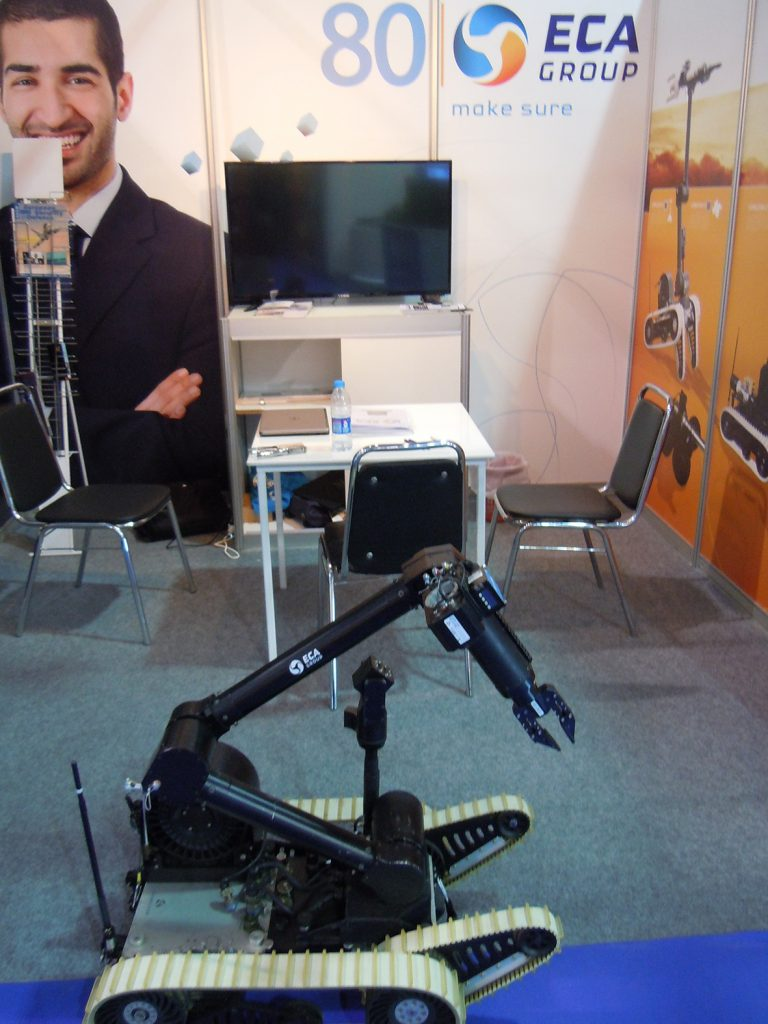 The ECA Group displayed its Chameleon unmanned ground vehicle and the IT 180-5 unmanned aerial vehicle. (David Oliver)