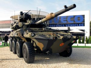 A first at the CIO stand was the Centauro II, in fact a fully new vehicle compared to the previous Centauro. (P. Valpolini)