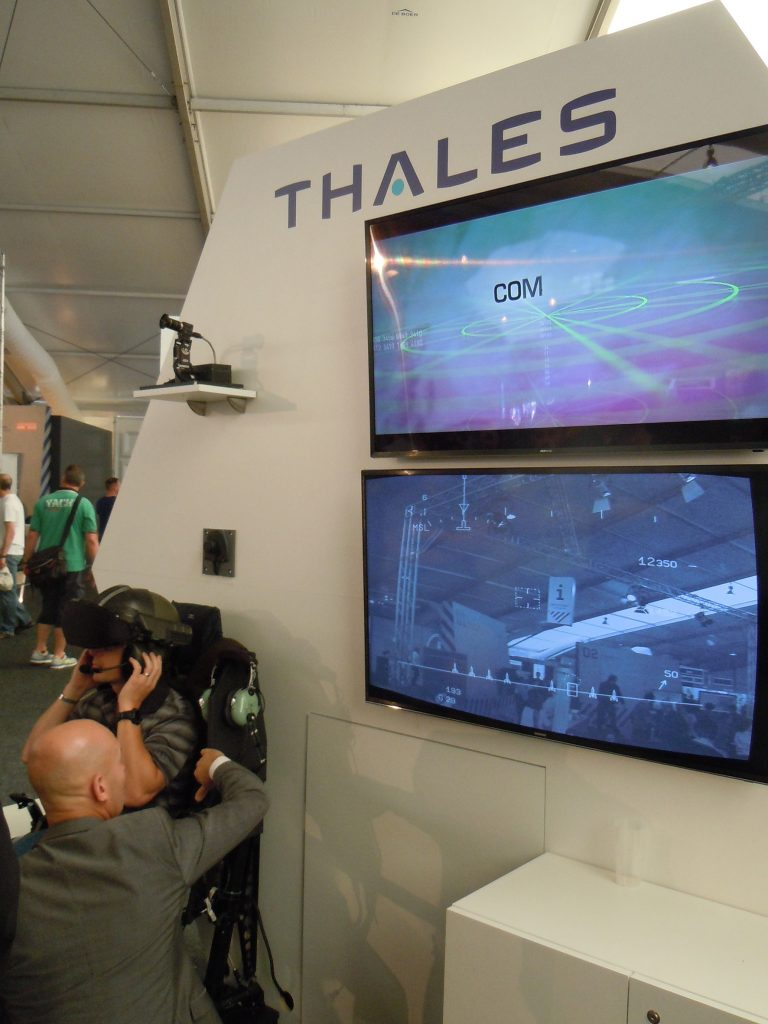 Thales displayed its TopOwl helmet-mounted sight and display for helicopter pilots. (David Oliver)