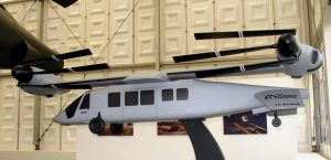 The model of the naval version of the V-280 Valor with wing rotated and blades folded. Note the anhedral tail to allow the wing rotation. (P. Valpolini)
