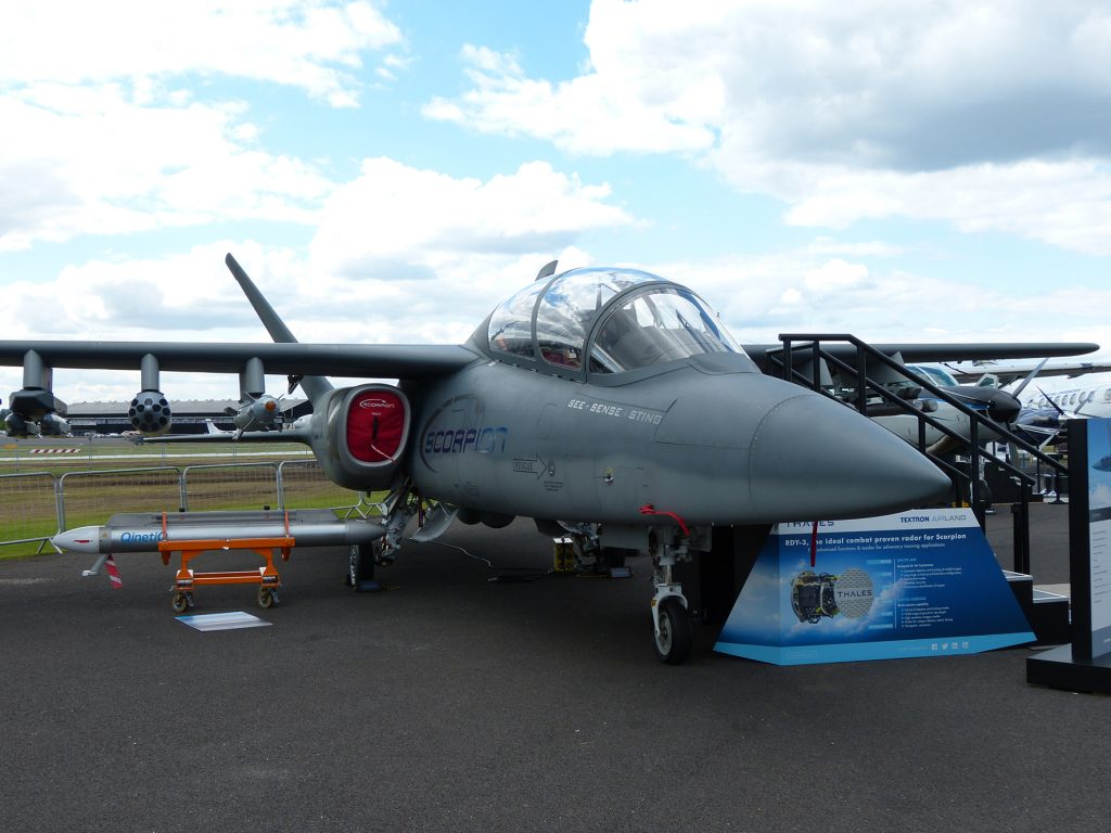 Thales is part of the team bidding for the UK MoD Air Support to Defence Operational Training (ASDOT) programme using Textron AirLand's Scorpion light attack and ISR aircraft. (David Oliver)