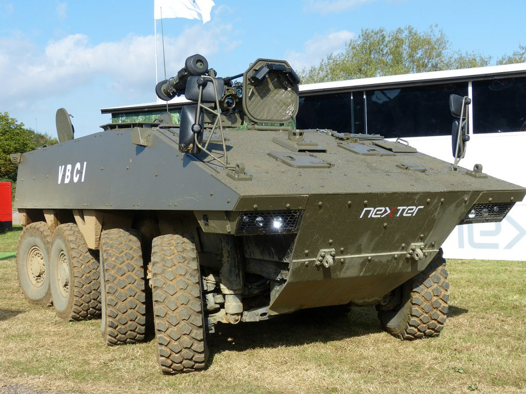 One of the contenders for the UK MIV programme at DVD 2016 was the Nexter VBCI with rear-wheel steering.