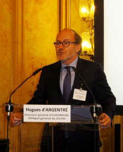 Hugues d'Argentré, a former French Navy helicopter pilot, general delegate of GICAN and director of Euronaval opens the biannual press conference at the Cercle des Armées in Paris. © J.-M. Guhl