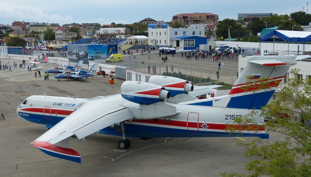 The Beriev test base at Gelendzhik, the venue for Gidroaviasalon 2016 with a Be-200 amphibian in the foreground. (David Oliver)