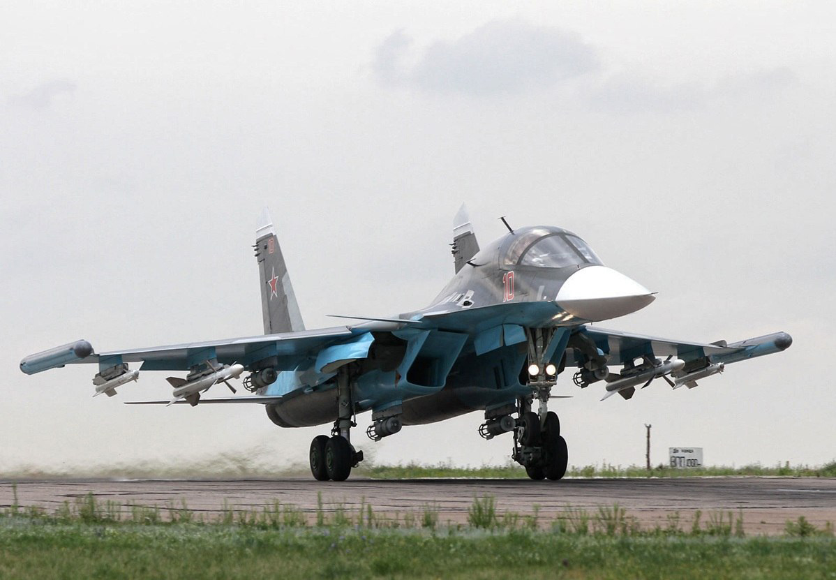 Russian Air Force Sukhoi Su-34 armed with underwing R-73 and R-27 air-to-air missiles.