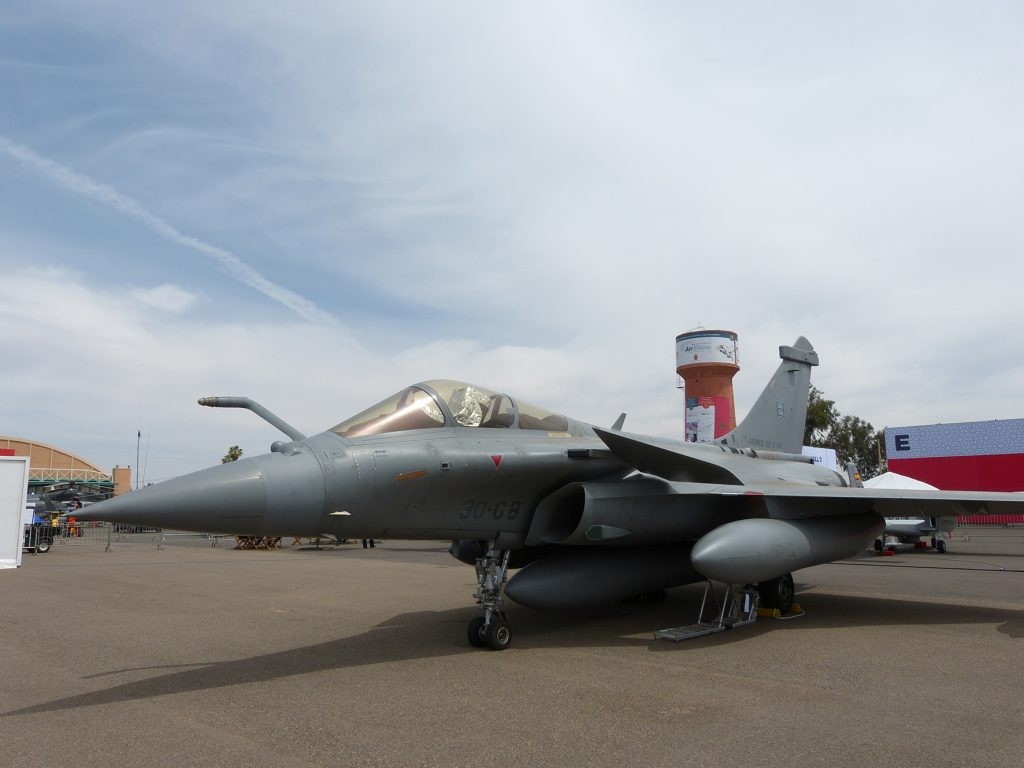 The combat proven Dassault Rafale C in the static display at Marrakesh. (David Oliver)