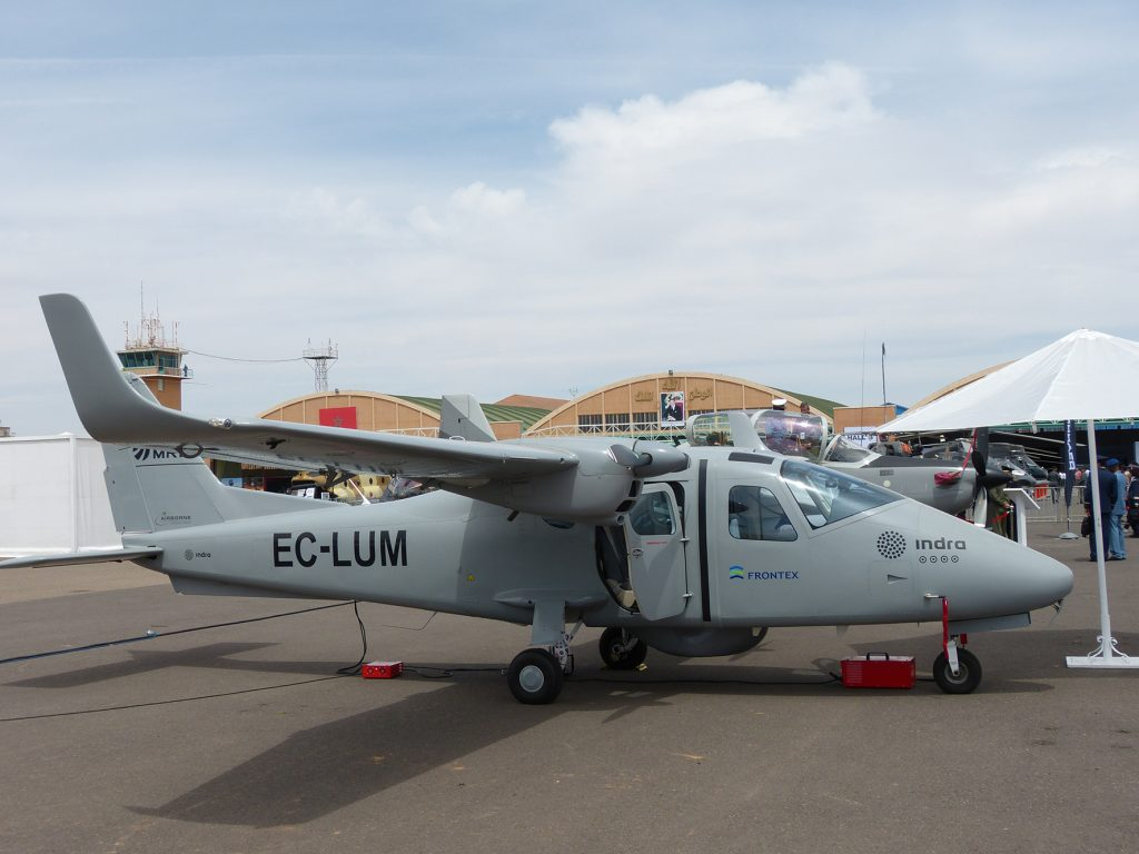 Indra showed the Tecnam 2006T MRI aircraft being used for its Frontex contract. (David Oliver)