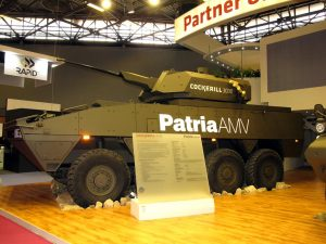 CMI unveiled its Cockerill 3000 turrets family, the 3030 being here fitted on Patria's AMV. (P. Valpolini)