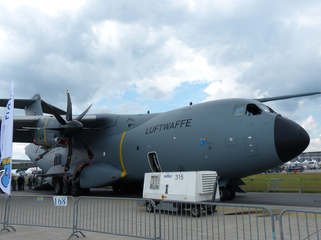 One of the Luftwaffe's Airbus A400M in the ILA static park is set to replace the ageing Transall in 2021. (David Oliver)