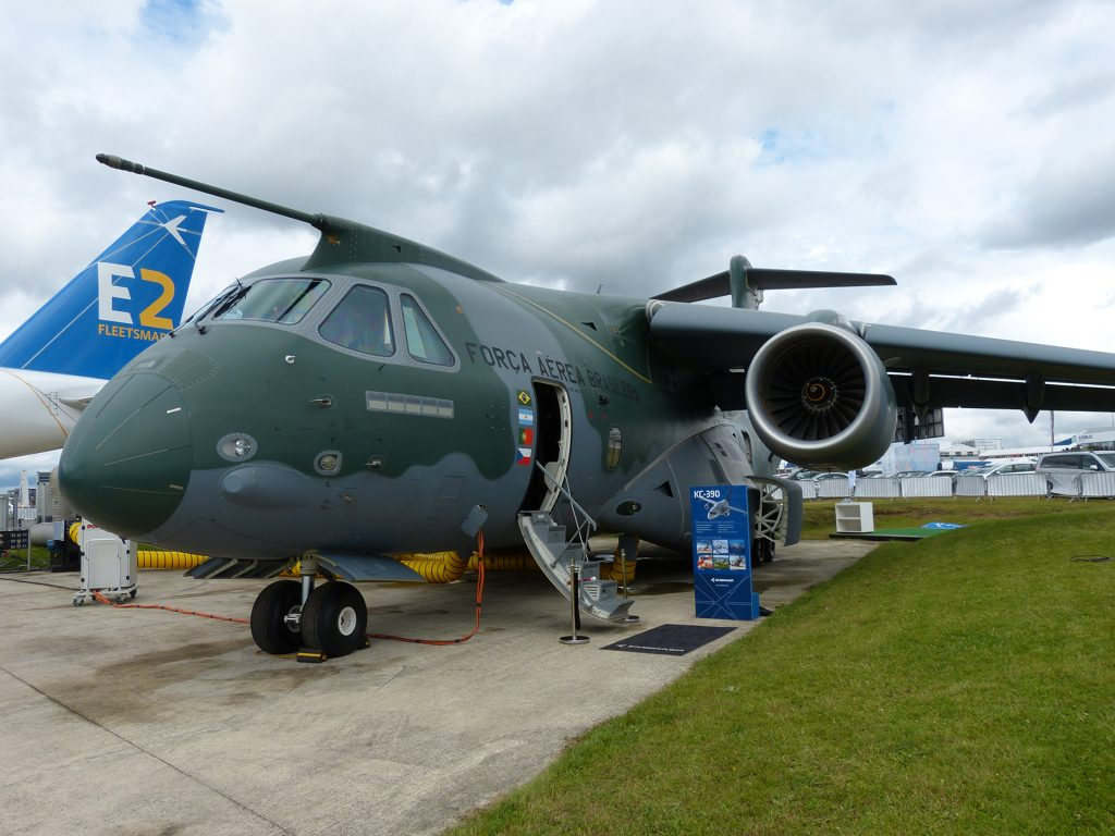 There is a large content of European constructed components in Embraer's innovative new tanker-transport aircraft displayed at Farnborough for the first time. (David Oliver)