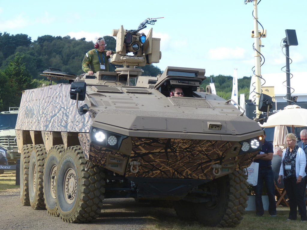 Patria showed its Armoured Modular Vehicle (AMV) XP with a Kongsberg remote weapons system.