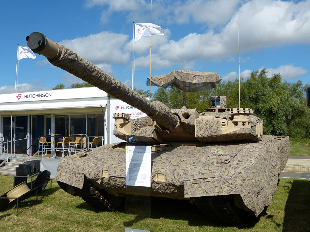 Rheimetall is bidding for the UK Challenger 2 MBT Life Extension Programme (LEP) and showed its MBT Advanced Technology Demonstrator.  (All pictures David Oliver)