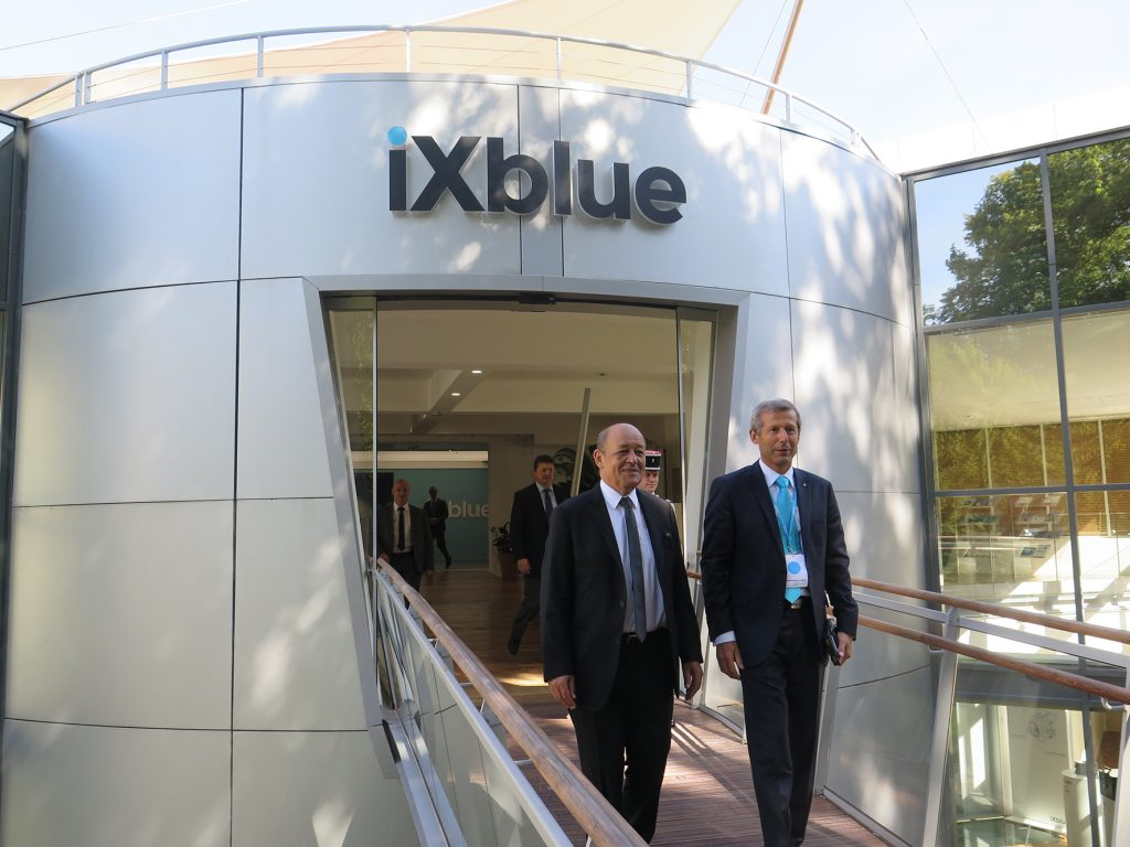 Jean-Yves Le Drian, French Minister of Defence, (at left) and Philippe Debaillon-Vesque, iXblue President and CEO, pictured during the inauguration of iXcampus at Saint Germain-en-Laye near Paris on 1 September 2016. © J. Roukoz