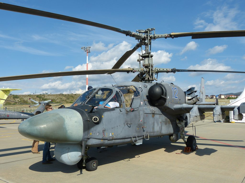 A Kamov Ka-52 Alligator belonging to the Russian Army Aviation Combat Training Centre in the Gelenzhik static display.  (David Oliver)