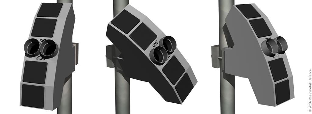 The Radshield sensor, optimised for detecting small and slow flying objects; the system has already been selected by a Swiss prison. (Photo Rheinmetall)