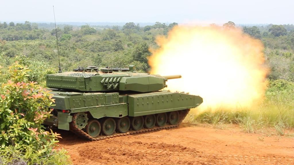 The upgraded version of Indonesian Leopard 2 pictured during firing trials. (Photo Rheinmetall)