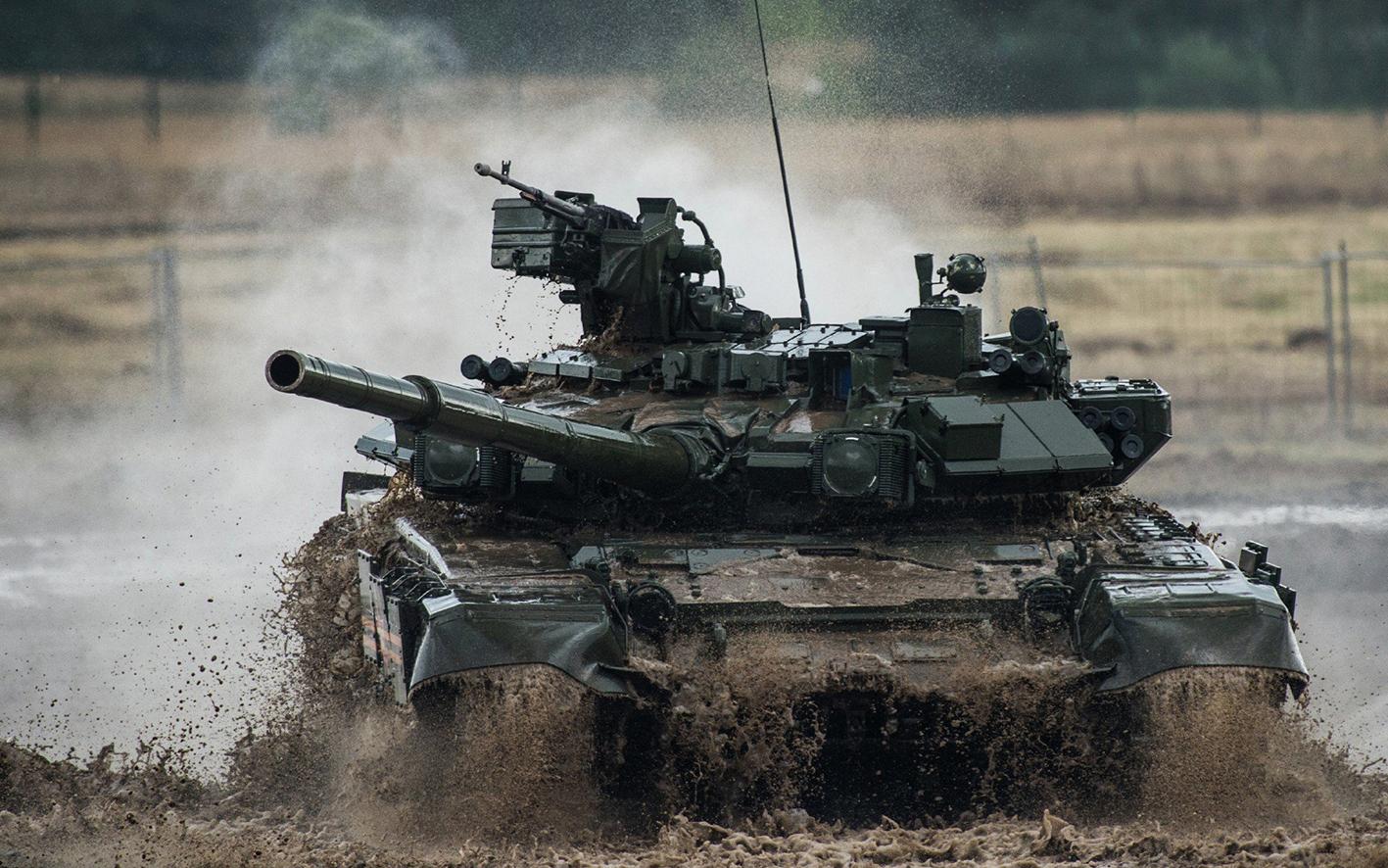 A T-90 main battle tank.