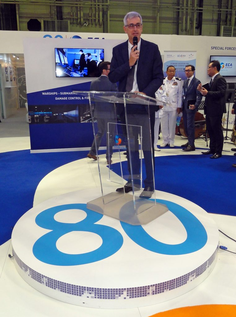 Guénaël Guillerme, directeur-général of Groupe ECA, pictured introducing his now 80-year company to the press. ECA will soon provide specialised underwater drones for the Franco-British MMCM project due to boost the counter-mine skill of the Marine National and the Royal Navy.  © J.-M. Guhl