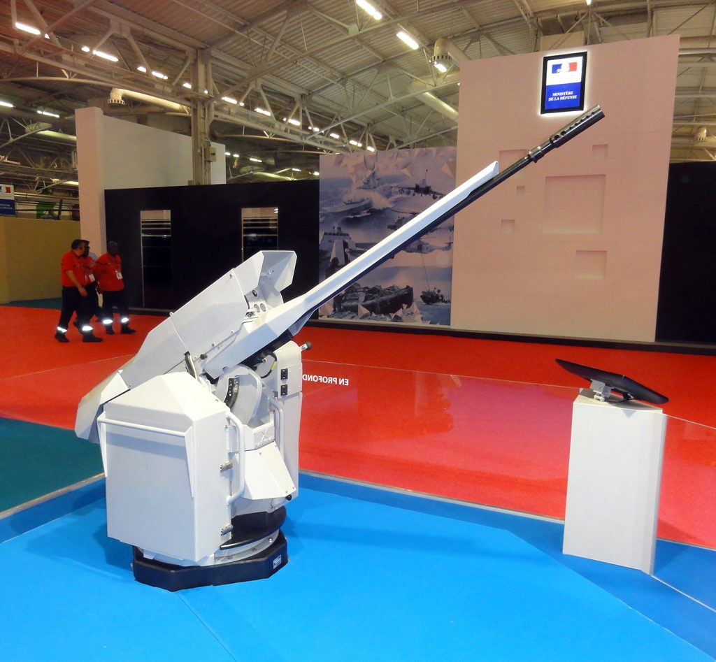 Selected by the French Navy to update the self-defence artillery of the Mistral-class BPCs, Nexter's Narwhal remotely operated 20mm cannon has recently being installed in pair on the FS Dixmude in place of earlier hand-held 0.5mm machine guns. © J.-M. Guhl